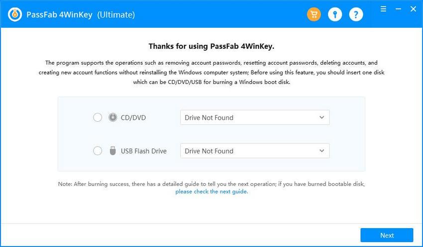 4winkey main interface passfab 4winkey guide