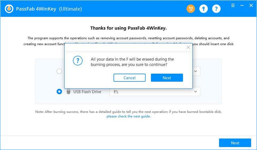 conferma la masterizzazione di cd e cancella i dati in passfab 4winkey