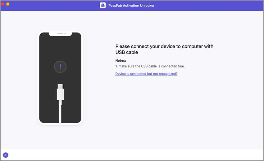 connect ios device to passfab activation unlocker