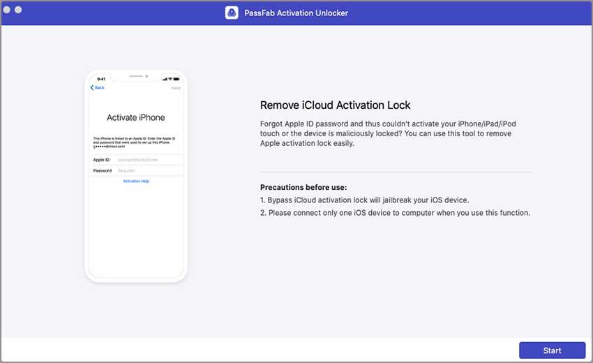 click start in passfab activation unlocker