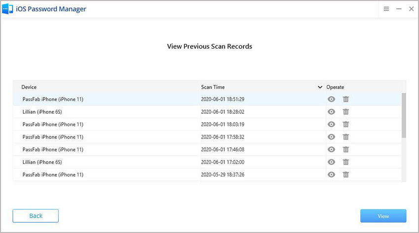 view previous records passfab ios password manager guide