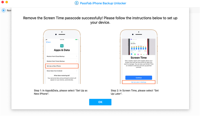 set up device on passfab iphone backup unlocker mac
