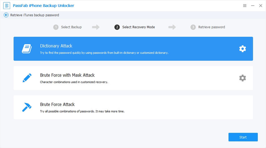 choose attack mode on passfab iphone backup unlocker