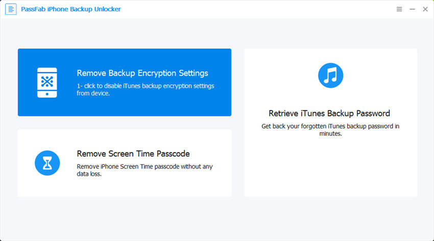 passfab iphone backup unlocker remove backup encryption settings