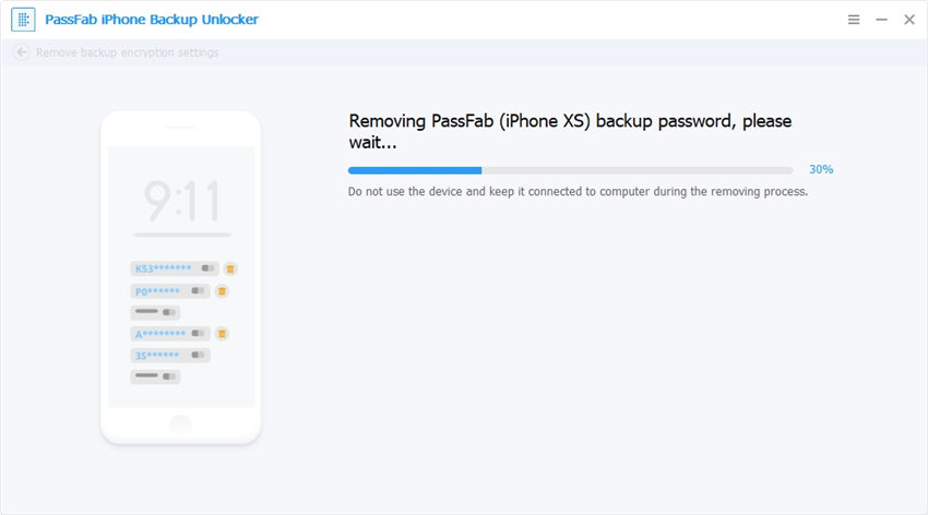 removing password using passfab iphone backup unlocker