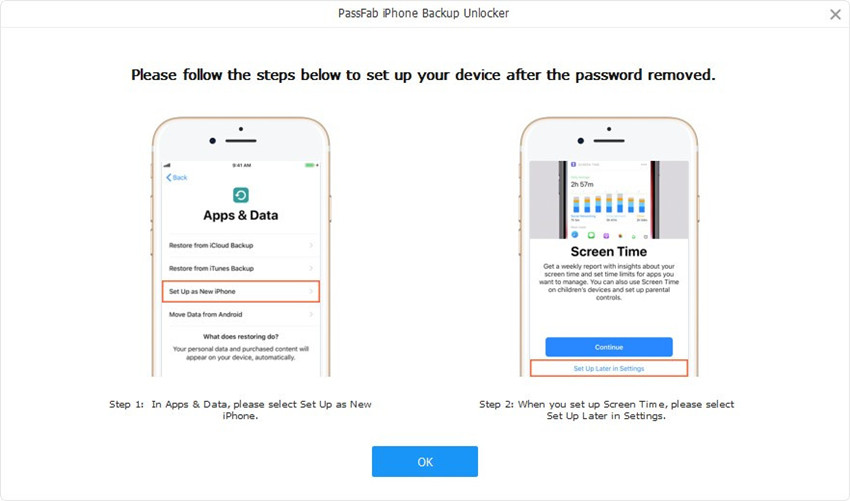 set up device guide in passfab iphone backup unlocker