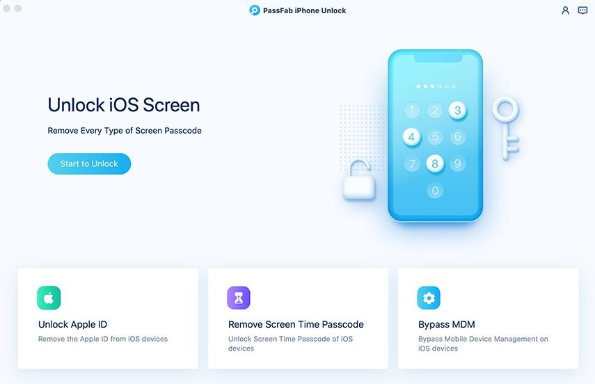 unlock lock screen passcode in passfab iphone unlocker for mac