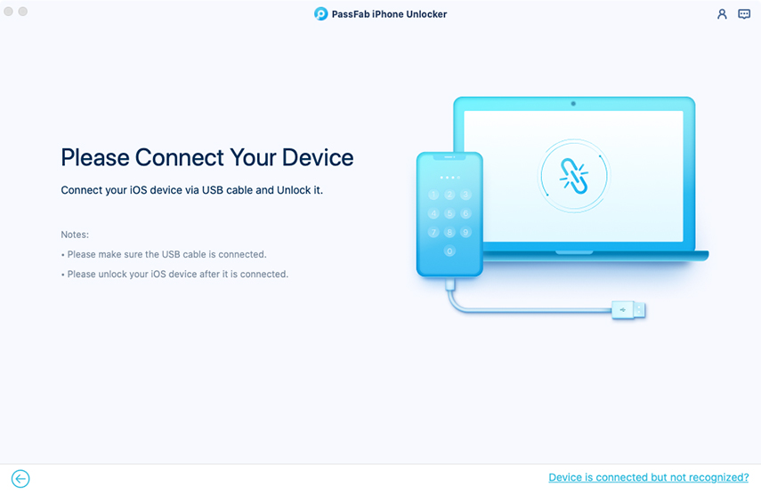 connect device in passfab iphone unlocker for mac