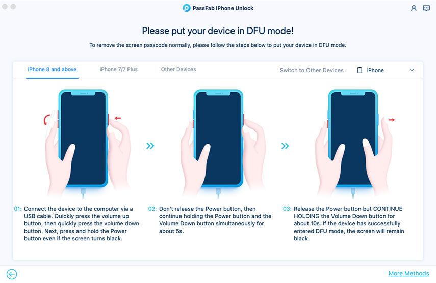 enter dfu mode in passfab iphone unlocker for mac