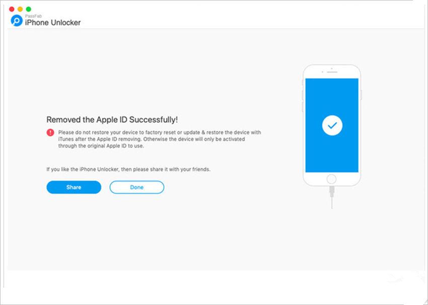 PassfabでApple ID 削除が成功