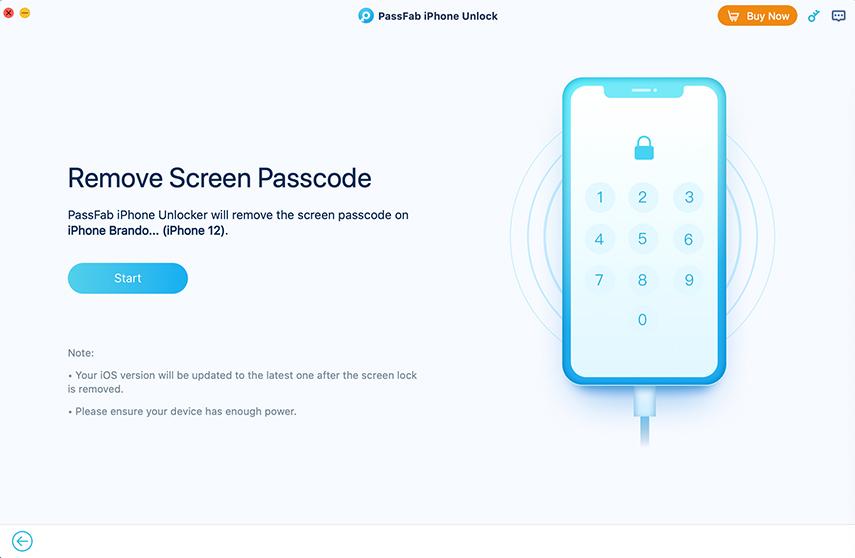 start remove iphone passcode in passfab iphone unlocker for mac