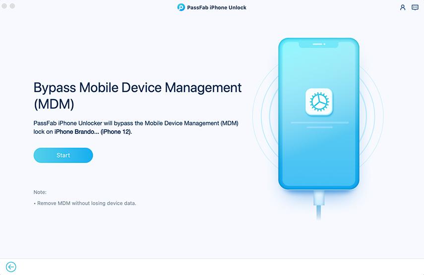 start to bypass mdm in passfab iphone unlocker