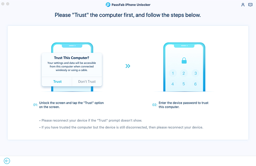 trust computer in passfab iphone unlocker for mac