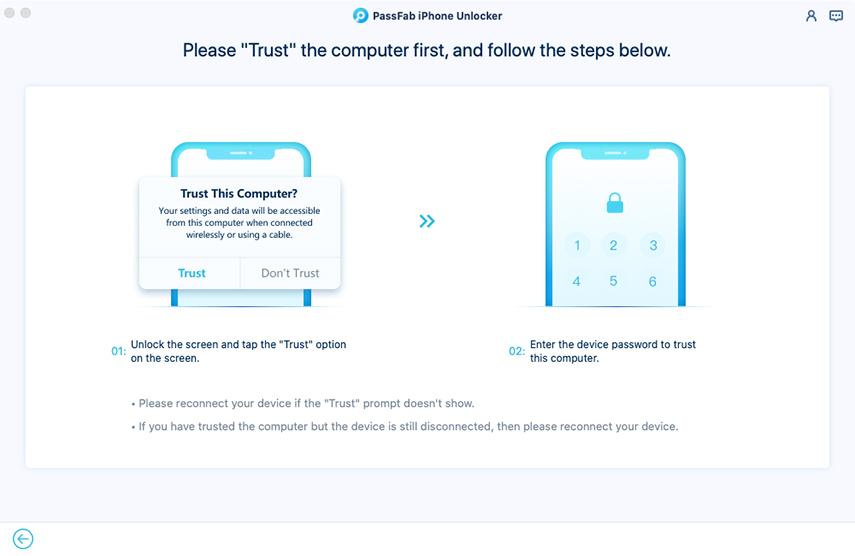 trust computer in passfab iphone unlocker for mac