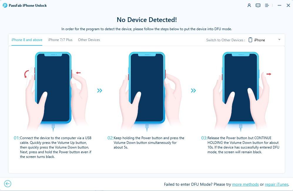 enter dfu mode in passfab iphone unlocker
