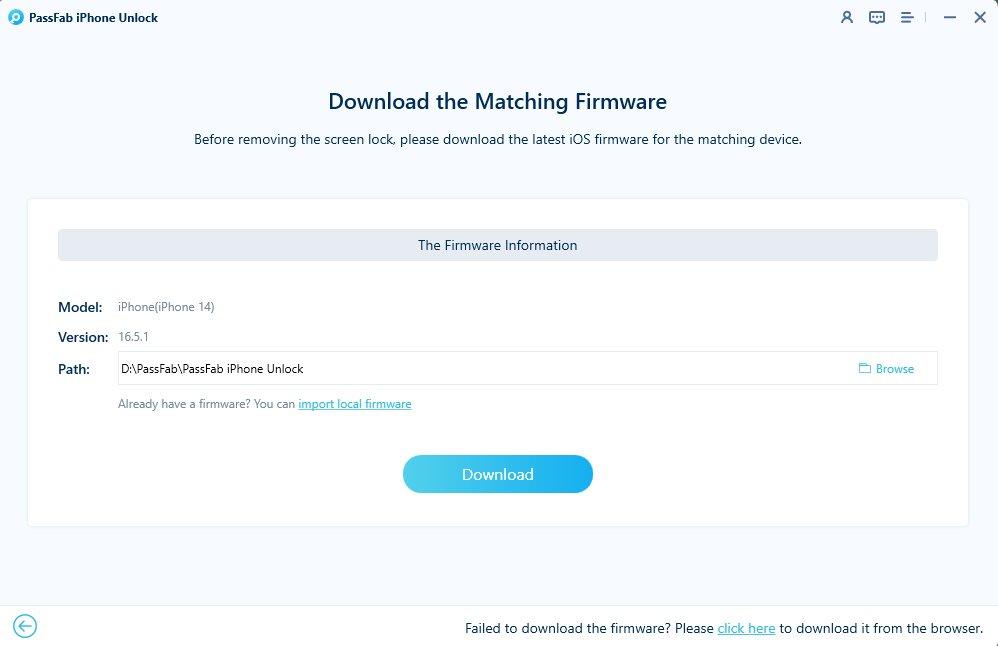 download firmware package in passfab iphone unlocker