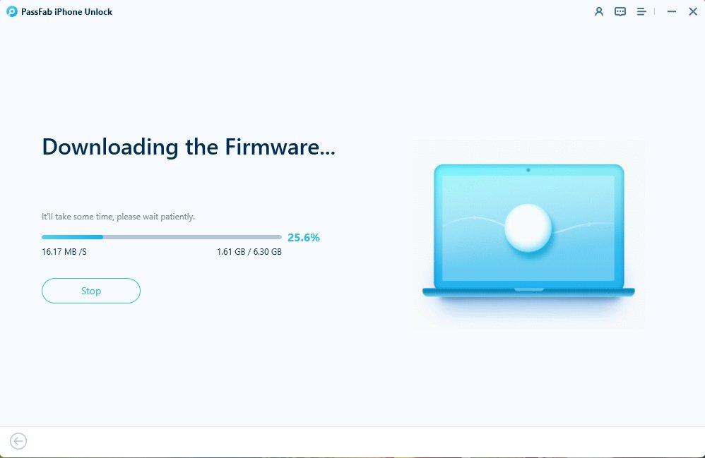 downloading firmware package in passfab iphone unlocker