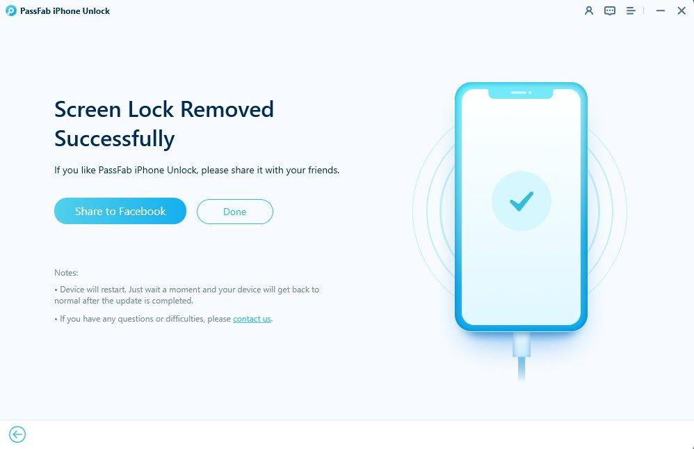 remove passcode successfully in passfab iphone unlocker