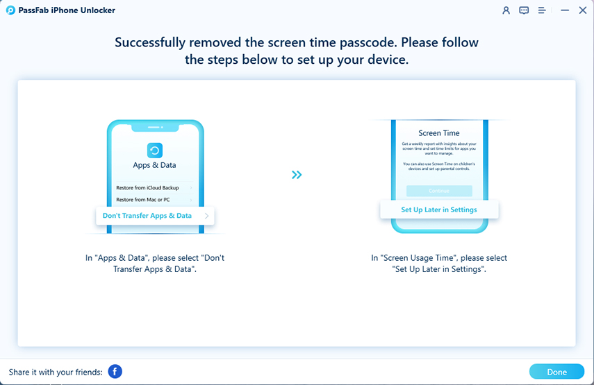 bypass screen time passcode successfully in passfab iphone unlocker