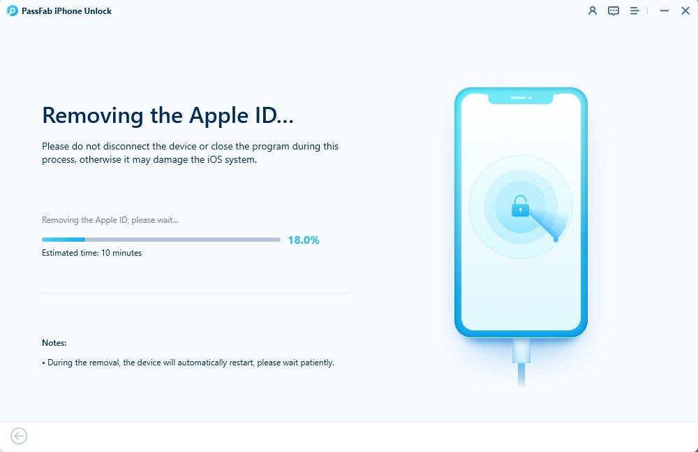 removing apple id in passfab iphone unlocker