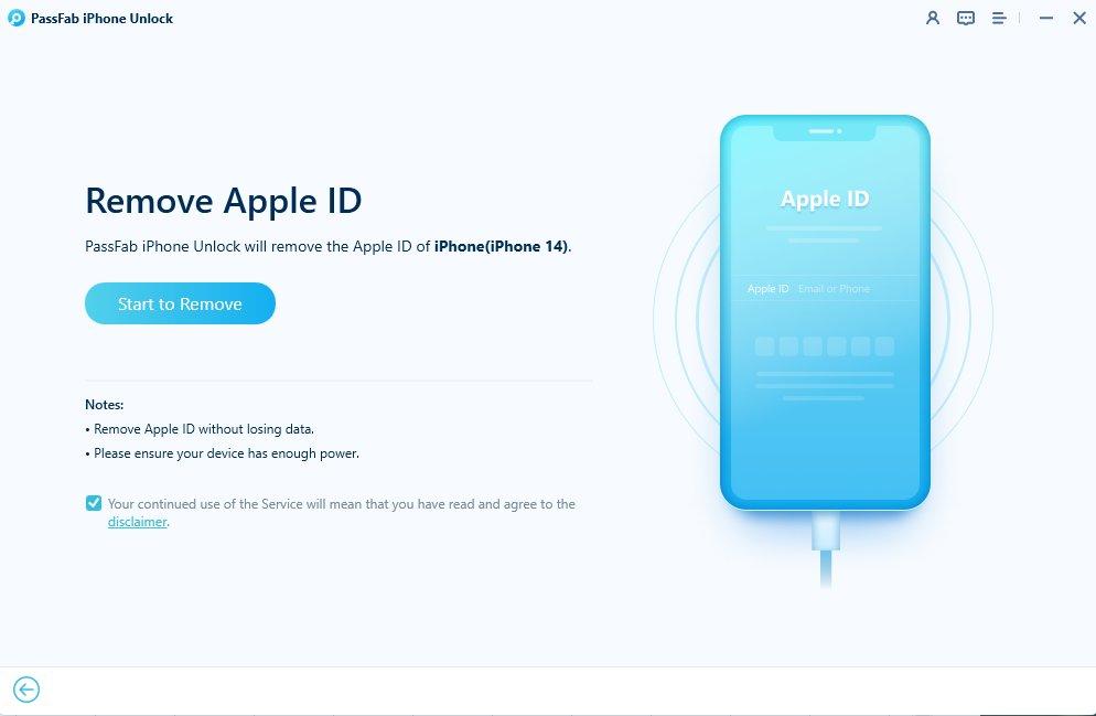 start to unlock apple id in passfab iphone unlocker