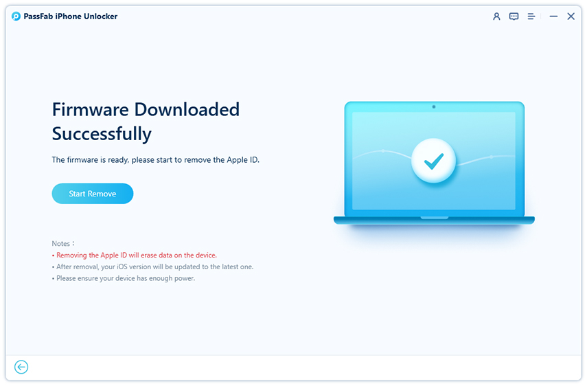 click start unlock to remove apple id