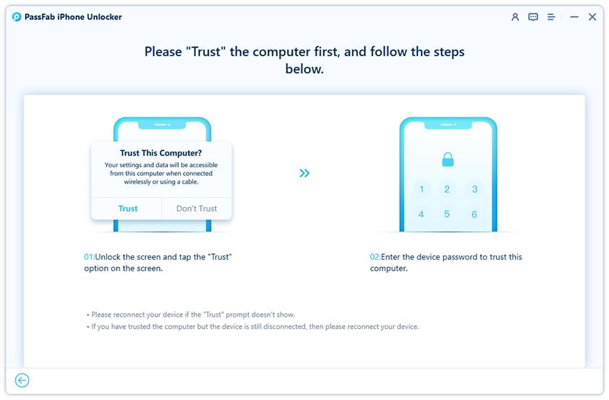 trust computer in passfab iphone unlocker