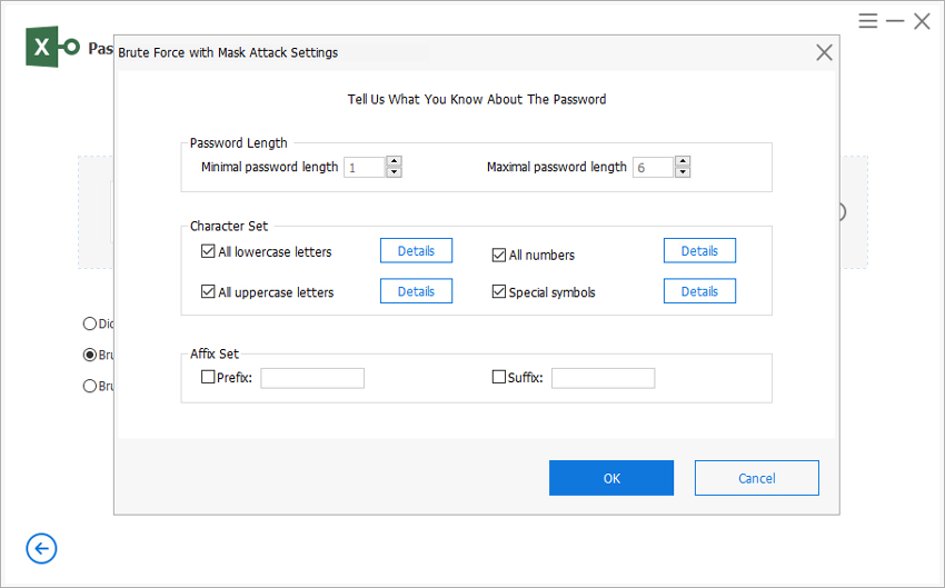 passfab for excel brute force with mask settings