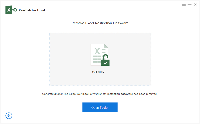 remove restriction password successfully via passfab for excel