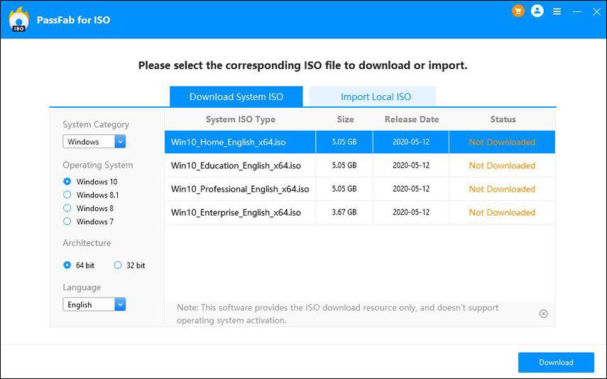 scegli un file ISO di sistema Windows e scaricalo per creare un disco di avvio