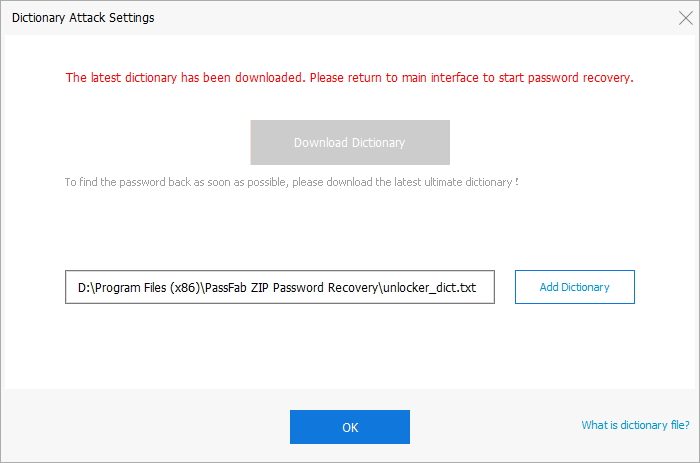 dictionary attack settings in passfab for zip