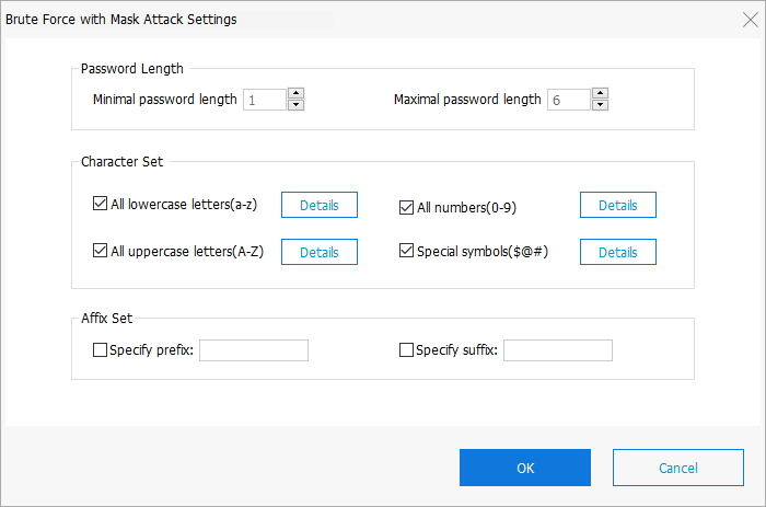 brute force with mask attack settings in passfab for zip