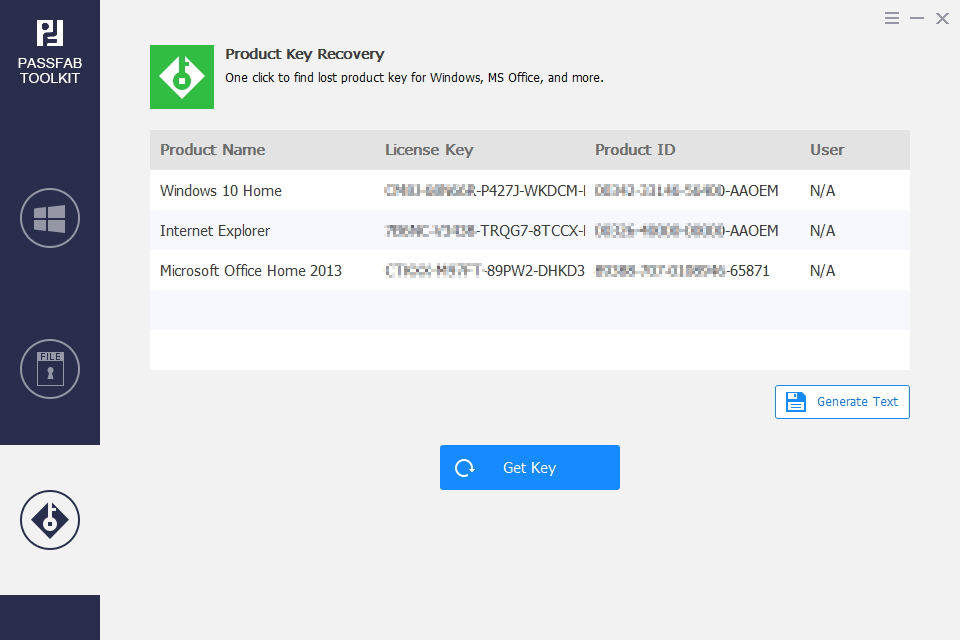 find lost product key in passfab toolkit