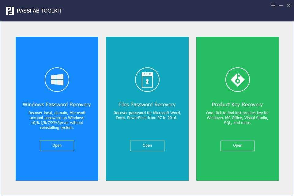 passfab toolkit recover passwords and product keys