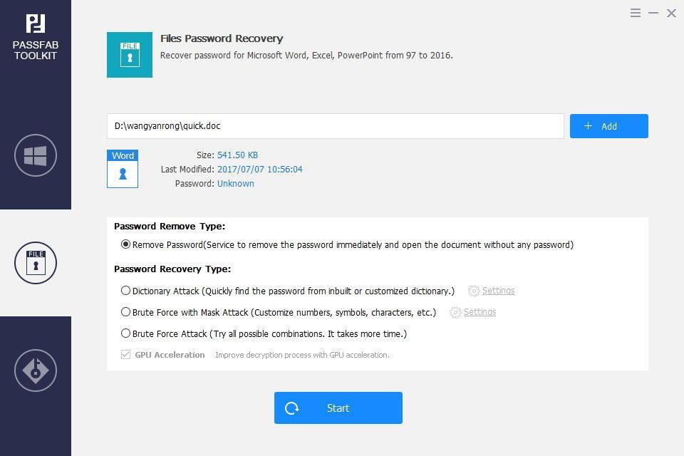 file password remove in passfab toolkit