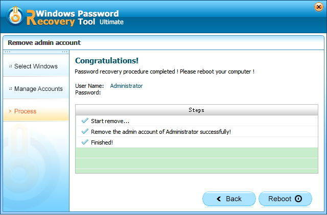Remove Admin Account in passfab toolkit