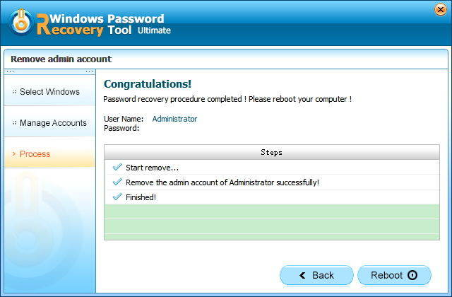 remove windows password successfully in passfab toolkit