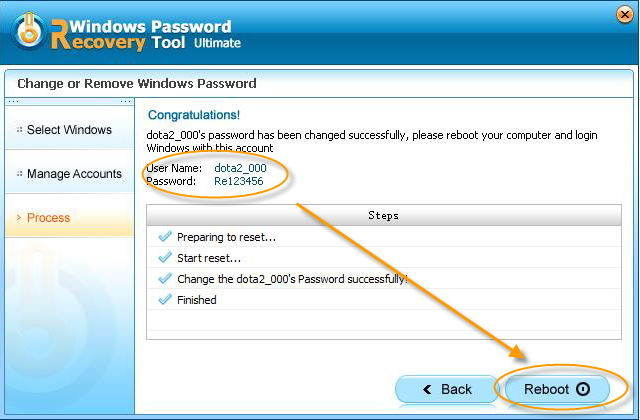 resete windows password successfully