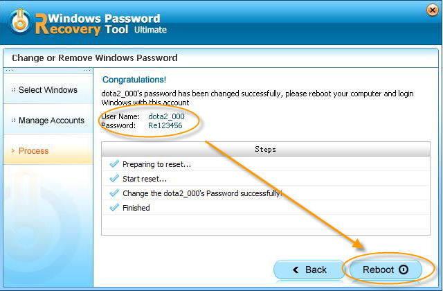 reset windows password successfully in passfab toolkit
