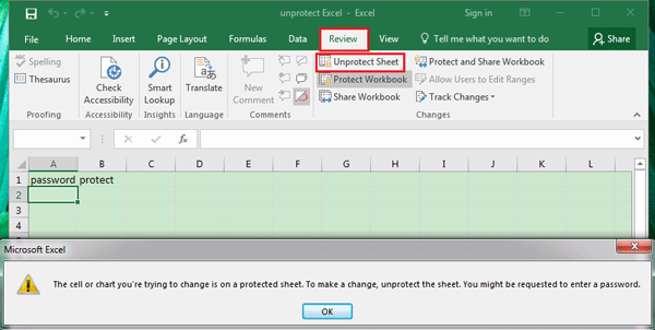 How to Unprotect Excel 2016