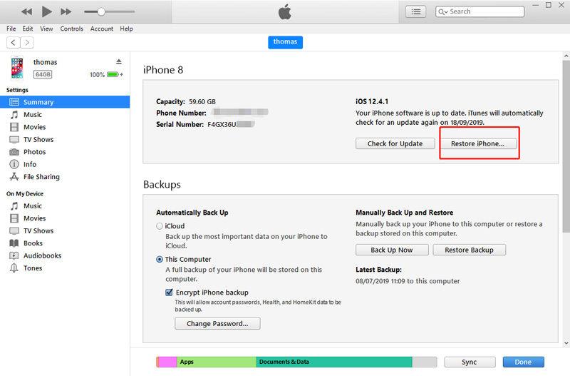 Ripristinare l'iPhone con iTunes