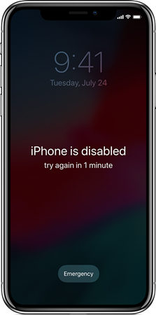 iphone disabilitato riprova tra 1 minuto