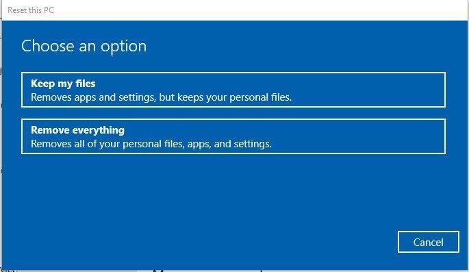 scegli un'opzione in windows 10