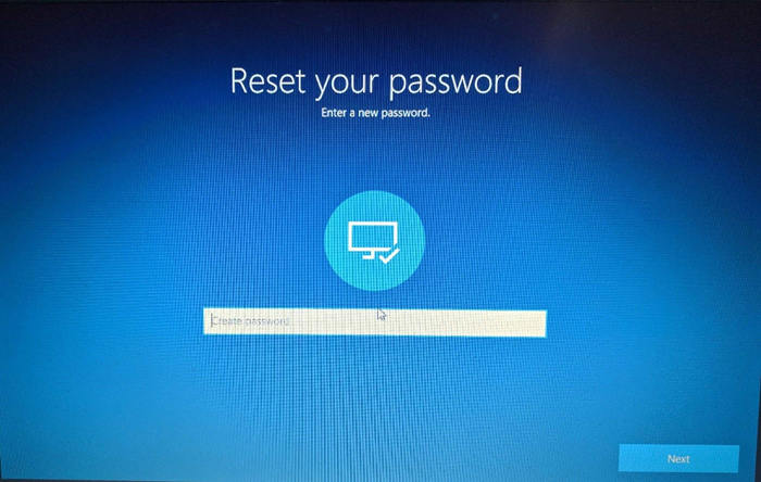reimposta la password dell'account admin predefinito di Windows 10