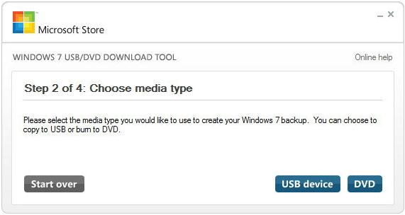 scegli il tipo di supporto per creare USB avviabile di Windows 7