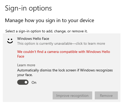 Impossibile trovare la fotocamera compatibile con Windows Hello